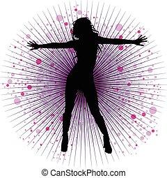 girl dancing - Vector girl dancing in night-club with flash