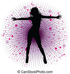 Vector girl dancing in night-club with flash
