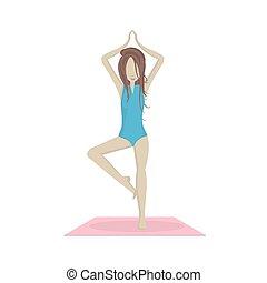 Vector girl doing yoga