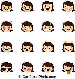 Apple girl emoji creator vector design collection  Green