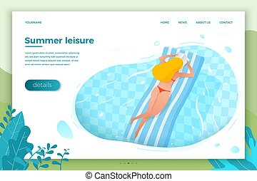 Vector - girl floating on inflatable mattress - Vector...