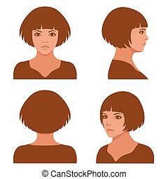 vector girl hairstyles , full face and profile head character