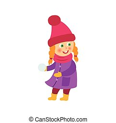 vector girl having fun with snoball isolated