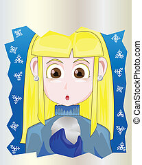 vector girl holding snowball