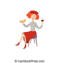 vector girl in beret with glass of wine, croissant