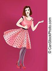 Vector girl in pop-art style