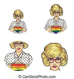 Vector girl, lgbt colored t-shirt, pop art avatars