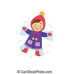 vector girl lying in the snow making snow angel