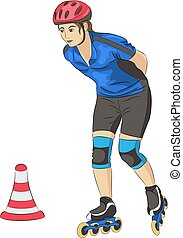 Vector. Girl on roller skates.