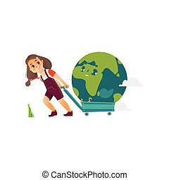 Vector girl pulling earth planet in a cart