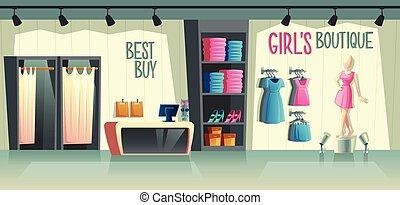 Vector girl s boutique. Female clothing shop interior.