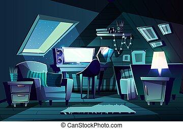 Vector girl s room at night. Cartoon garret bedroom