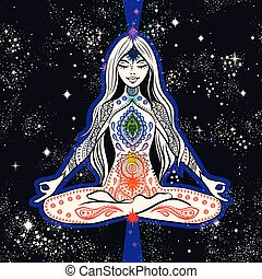 Vector girl seating in meditation with chakras. Design for yoga mat
