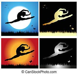 girl silhouette dancing in a meadow