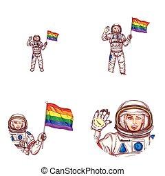 Vector girl spaceman lgbt flag avatar icon