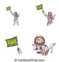 Vector girl spaceman sale flag avatar icon