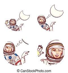 Vector girl spaceman speech bubble avatar icon