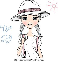 Vector girl traveler in white hat - Lovely fashion girl...