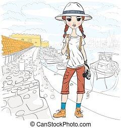 Vector girl traveler with photo camera in port - Lovely...