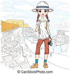Vector girl traveler with photo camera in port - Lovely...