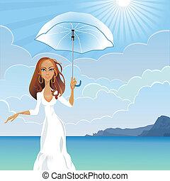 vector girl with an umbrella by the sea