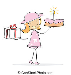 vector girl with cake and present