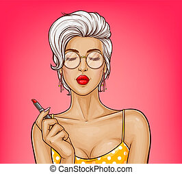 Vector girl with sexy lips holds red lipstick. - Vector sexy...