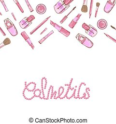 Vector glamorous make up set with nail polish and lipstick.Creative design for card, web background, book cover. EPS10