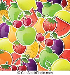 vector, glanzend, vruchten