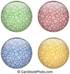 Glass Circle Button Colorful Bubbles - Vector - Glass Circle...