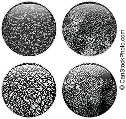 Glass Circle Buttons Grunge Textures - Vector - Glass Circle...