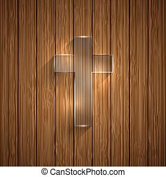 Vector glass cross on wooden background