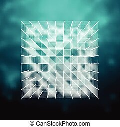 Vector glass - cube illustration . HUD element