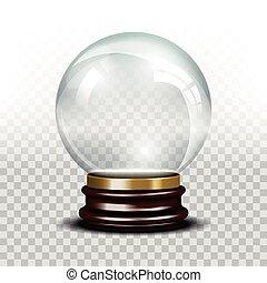 Vector glass empty snow globe. Ball sphere magic, realistic...