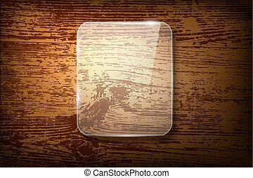 Vector glass frame on vintage wooden background
