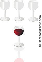 goblet of wine - Vector glass goblet of wine against the...
