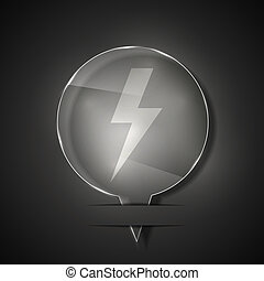 Vector glass lightning bolt icon on gray background. Eps 10
