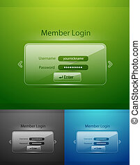 Vector glass login page - Abstract vector glass login forms