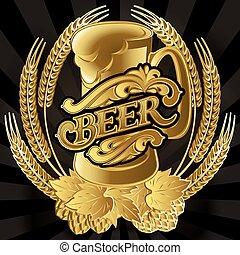 vector glass of beer on black background for menu