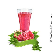 vector glass of juice with raspberry and ribbon isolated on white background