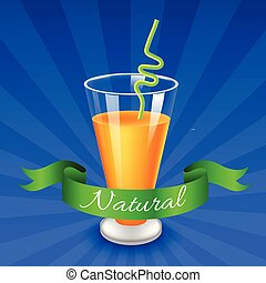 vector glass of juice with raspberry isolated on blue background