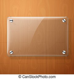 Vector glass plate for your signs, on wooden background.