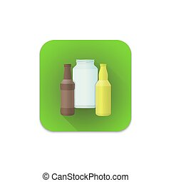 vector glass recycle waste icon
