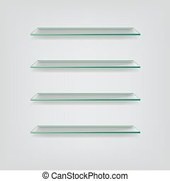 Vector glass shelves isolated on grey background.