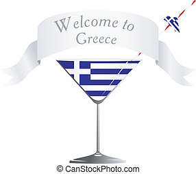 Vector glass with national symbolics Greece