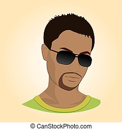 vector, glasses., illustratie, man