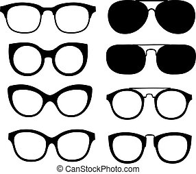 Vector glasses isolated on white background.