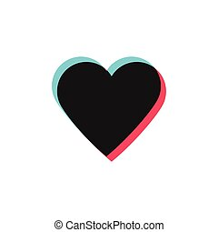 Glitch heart like icon. Social media symbol