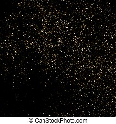 Vector glitter dust. Gold glitter texture on a black background. Golden explosion of confetti. Golden grainy surface for for flyer, poster, sale sign. Abstract texture for your desugn and business