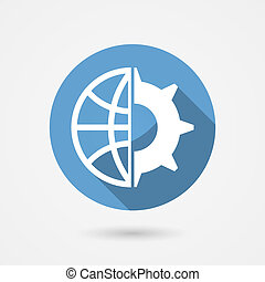 vector, globaal, technologie, pictogram
